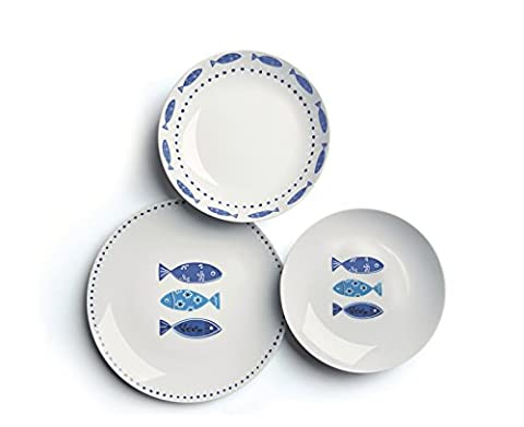 Excelsa Ocean 18 Pieces Dinnerware Set, Porcelain, 45 x 25 x 12 cm (White / Blue)