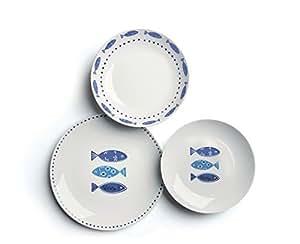 Excelsa Ocean Servizio Piatti 18 Pezzi, Porcellana, Bianco/Azzurro
