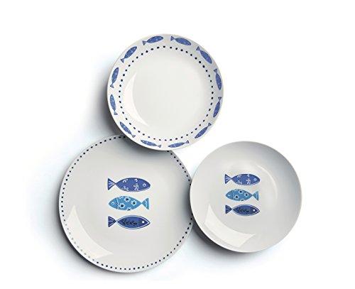 Excelsa Ocean Service de Table en Porcelaine, 18 pièces, Blanc/Bleu