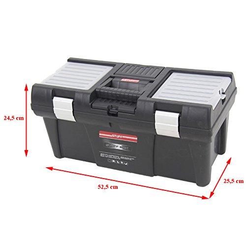 Kunststoff Werkzeugkoffer STUFF Semi Profi Alu 20″, 52,5×25,5cm Kasten Werzeugkiste Sortimentskasten Werkzeugkasten Anglerkoffer - 4