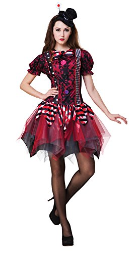 Bristol Novelty AC085 Horror Clown Kostüm für Damen, Schwarz, UK 10-14