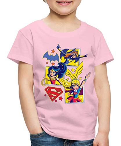 Spreadshirt DC Super Hero Girls Batgirl Wonder Woman Supergirl Kacheln Kinder Premium T-Shirt, 110/116 (4 Jahre), Hellrosa