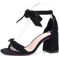 Nuevo Lazo de Verano con Lazo Grueso con Zapatos de Mujer Viento Salvaje de Colegio con Sandalias XIAOQI
