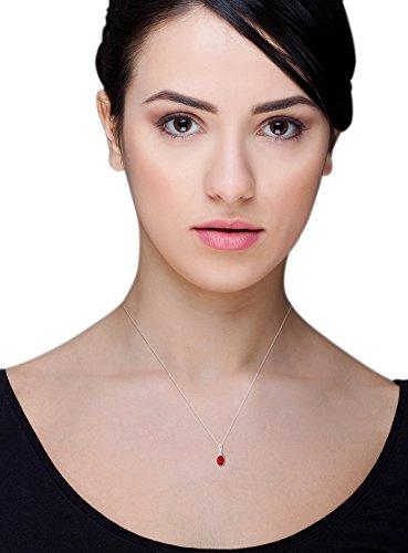 Miore Collier Femme avec pendentif  (9 Carats) Emeraude de synthèse Rouge