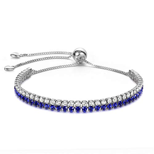 J.Fée Geburtsstein Schmuck Blau Kristall Armband Doppelschicht 925 Sterling Silber Überzogene Einstellbare Legierung Armband Link für Frauen Mädchen Ideal Geschenk