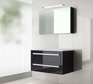 badm bel set atlantis hochglanz schwarz korpus schwarz 120cm besteht aus spiegelschrank. Black Bedroom Furniture Sets. Home Design Ideas