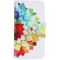 Qiaogle Teléfono Case - Funda de PU Cuero Billetera Clamshell Carcasa Cover para Microsoft Lumia 550 (4.7 Pulgadas) - HX05 / Colorful ink painting flor