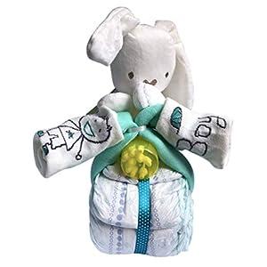 Windeltorte/Windelgeschenk/Windelmotorrad Junge Baby -> süßer HASE + BABY Socken + Wattestäbchen + Mulltuch - tolles WINDELGESCHENK zur Geburt -> babyshower geschenk (Motorrad blau Gr. 3)
