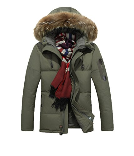 5-ALL Mens Big Fur col Slim Fit Plus épais velours capuche doudoune courte Vert