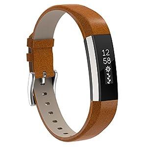 Für Fitbit Alta HR und Fitbit Alta Leder Armband,SnowCinda Verstellbares Ersatzarmband Wristband Unisex Gurt Fitness Zubehörteil mit Metallschließe GlossyBrown