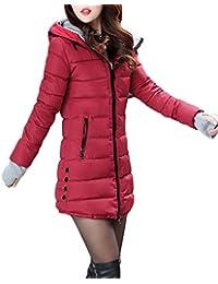 Runyue Lunga Giacche Piumino da Donna Invernale Caldo Cappotto Giacche di  Piuma con Cappuccio Bodeaux L c6e595c5eb8