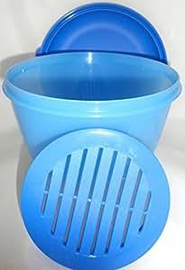 1a tupper a83 salatsch ssel frische pavillon mit sieb und gew lbtem deckel 2l blau amazon. Black Bedroom Furniture Sets. Home Design Ideas