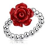 MATERIA Blumen Ring rot 925 Silber Perlen für Damen Mädchen 16-19mm verstellbar in bunten Ringetui SR-57-rot