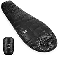 Terra Hiker Sleeping Bags, Warm Mummy Bag for Backpacking and Mountaineering with Ultra-Light and Compact Duck Down Filling, Comfortable Envelope Compression Sack, Max User Height 190 cm (-6 to 7 °C)