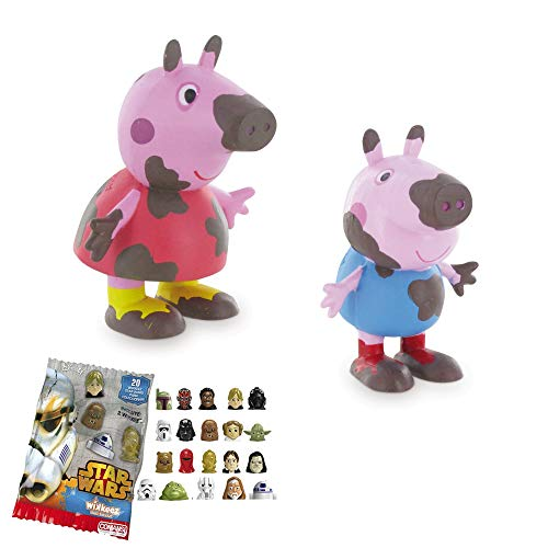 Lote 2 Figuras Comansi Peppa Pig Barro- Peppa Pig - George + Regalo