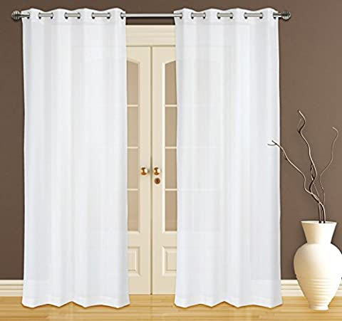 Zephyr Elegant Sheer Readymade Voile 2-Piece Eyelet/Ring Top Curtain Pair, 132x241cm, Cream Ivory