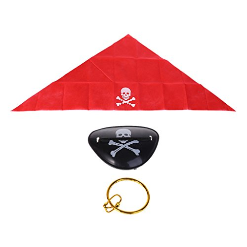 Cold Toy Piratenkapitän Kostüm Piraten Flagge Halloween Cosplay Requisiten vorgeben Spielen (Kopftuch Eyewear Ohrringe) (Piraten Kostüm Requisiten)