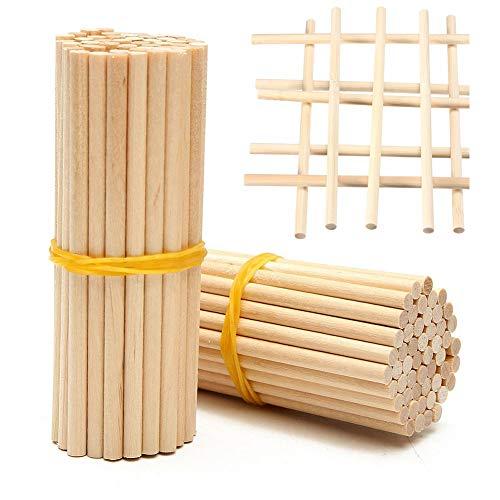 Lot de 100 bâtonnets en bois pour loisirs créatifs, nourriture, longs bâtons ronds en bambou de 20 cm, chevilles en bois naturel avec 4 mm de diamètre