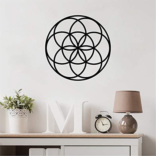 Samen des Lebens Spirituelle Wandtattoo Heilige Geometrie Vinyl Aufkleber Geometrische Abstrakte Abziehbilder Home Room Wall Decor 1 38 * 38 cm Mustangs Wc