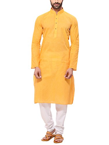 RG Designers Men's Cotton Kurta Pajama Set (HandloomYellowKurta Pajama Set40_Yellow_large)