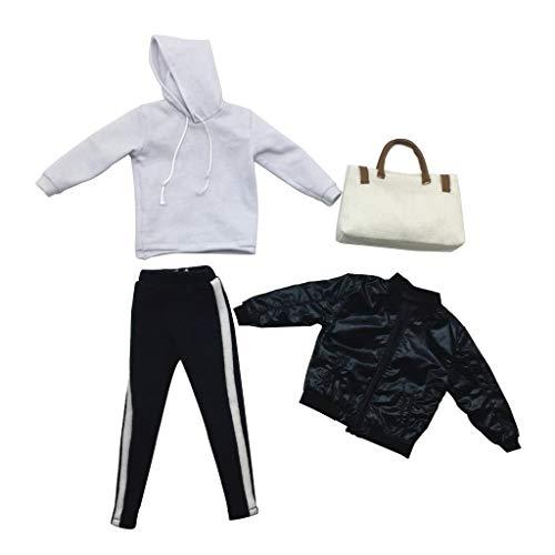 B Blesiya 1/6 Männliche Action Figur Kleidung Set Hoodie Handtasche \ Hose Kleidung (Puppe Kostüm Männlich)