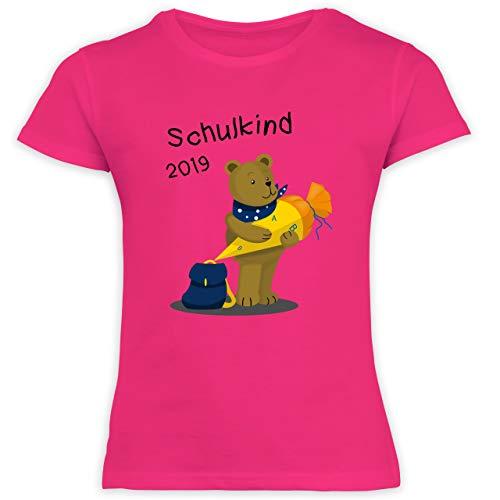 Einschulung und Schulanfang - Einschulung Bär Schulkind 2019-140 (9-11 Jahre) - Fuchsia - F131K Schulanfang - Schulanfang Mädchen T-Shirt Kinder