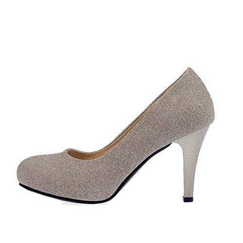 VogueZone009 Femme Matière Souple Rond Tire Couleur Unie Chaussures Légeres Doré