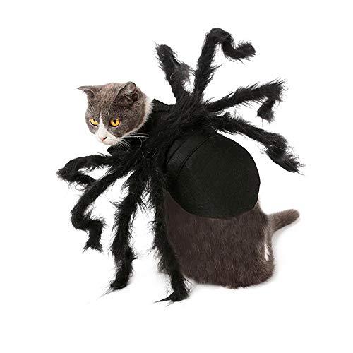 MOGOI Pet Spider Kostüm, Halloween Pets Simulation Plüschspinne mit Verstellbarer Nackenschnalle für Hunde, Katzen - Hunde Im Spider Kostüm