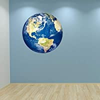 Full Colour Planet Earth Wall Sticker Decal Boys Bedroom Universe Playroom Educational