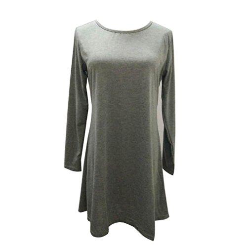 Robe Femme, Fulltime® Femmes en vrac Casual manches longues col O Ruffles Mini robe Gris foncé