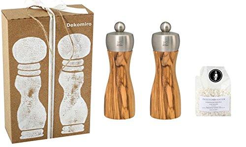 Peugeot Set Fidji Salzmühle und Pfeffermühle 15 cm Olivenholz Dekomiro Geschenkset mit 100 gr. Salz