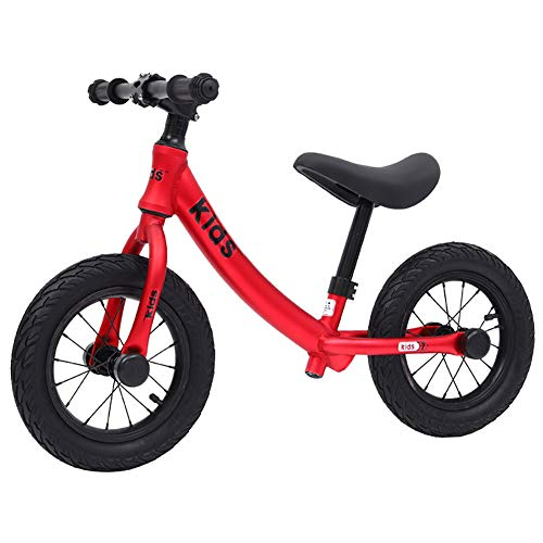 """ZXDBK 12"""" Balance Fahrrad, 2 3 4 5 6 Jahre alt Jungen Mädchen Fahrrad ohne Pedale Hochwertige Aluminiumlegierung Vielseitiger Rennsport, Verstellbarer Sitz Walking Bike,Red"""