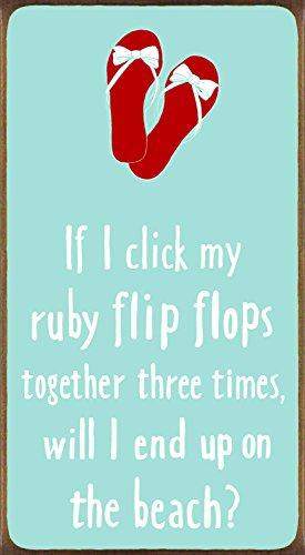 My Word. Wenn ich Click My Ruby Flip flops-5.5X 10Block Sign, Blaugrün mit Weiß Schriftzug