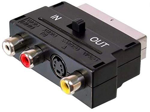 PremiumCord Adapter Scart-3x Cinch + S-Video mit in/Out-Schalter