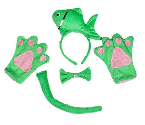 Süße grüne Fisch Stirnband Schleife Schwanz Handschuh 4Kostüm für Kind Halloween Party Gr. One size, (Fisch Kostüm Kind)