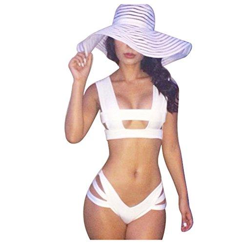 vlunt Sexy Femme de maillots de bain bikini de bain pour les vacances YE183-White