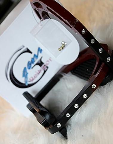 Steigbügel Aluminium Alu wie Jin stirrups Blackberry schwarz MATT <3 mit Strass