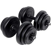 Songmics 20 kg Mancuernas de fitness Pesas Hombres Cubierta de plástico PE Negro SYL20H