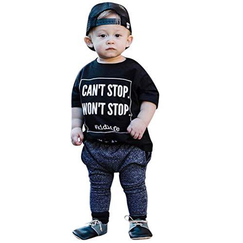 JUTOO 2 Stücke Set Kleinkind Kind Baby Boy Outfits Kleidung Brief Drucken Kurzarm T-Shirt + Hosen Set ()