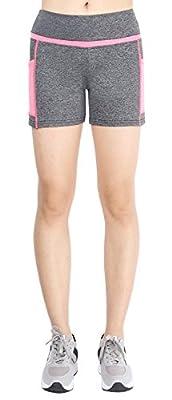 Flatik Women's Yoga Shorts Running Pants Wide Waistband Hidden Pocket