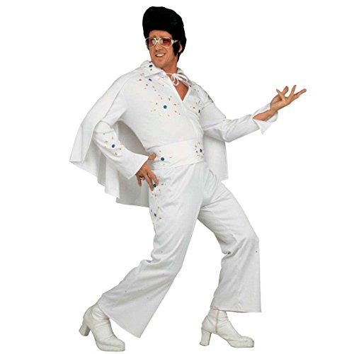 Amakando King Kostüm weiß Rock 'n' Roll Rockstar Herrenkostüm XL (54) Rock Star Celebrity Berühmtheiten Männerkostüm 50er Jahre Faschingskostüm Rockabilly Karnevalskostüm Retro Mottoparty Verkleidung (50er Jahre Rock Star Kostüm)
