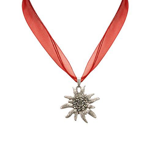 Trachtenschmuck * Trachtenkette Organzaband mit Strass-Edelweiß * Damen Dirndlkette - Organzakette * Dirndl-Schmuck Oktoberfest (rot)