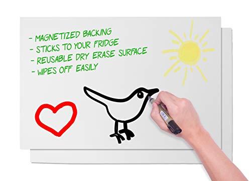Magnetische trocken abwischbare Tabelle-2er Pack Magnet Whiteboard Tabelle für Küche Kühlschrank, Dry Erase Board mit Magnetisierte Rückseite, Weiß, große, 43,2x 27,9cm (Magnetischen Trocken-board)