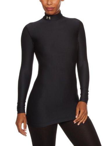Under Armour Damen Shirt CG Compression Mock, Black/Slv, M-001 (Under Long Armour Unterwäsche Sleeve-lange)