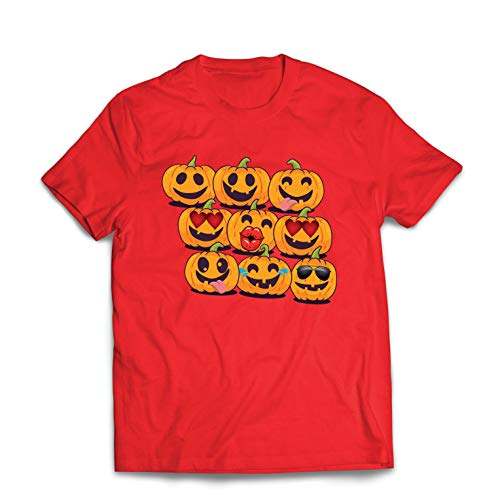 lepni.me Männer T-Shirt Kürbis Emoji Lustiges Halloween-Party-Kostüm (Medium Rot Mehrfarben)
