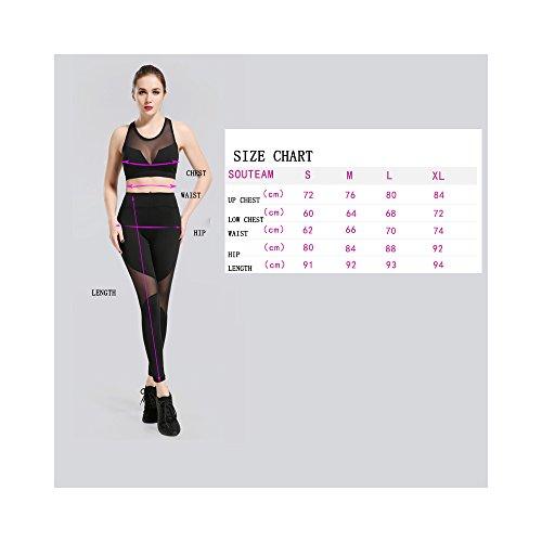 SOUTEAM Frauen Sport BH Hoch Brieftasche Gamaschen Sport Gym Outfits Set schwarz