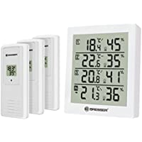 Bresser Thermometer Hygrometer Temeo Hygro Quadro inklusive 3 Außensensoren um bei 4 Umgebungen gleichzeitig Temperatur und Luftfeuchtigkeit zu messen und zu kontrollieren, weiß