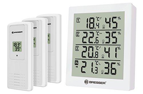 Bresser Wetterstation Funk mit Außensensor Temeo Hygro Quadro inklusive 3 Außensensoren um bei 4 Umgebungen gleichzeitig Temperatur und Luftfeuchtigkeit zu messen und zu kontrollieren, weiß -