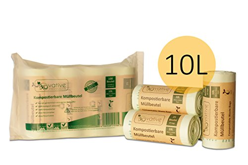 Kompostierbare Bio-Müllbeutel 10 Liter ohne & mit Henkel - 100 Stk. reissfeste & auslaufsichere Bio-Beutel - 100% kompostierbar & biologisch abbaubar - 10l Bio-Müllsäcke ohne & mit Tragegriff für Ihre Biotonne & Kompost (Kompostierbare Beutel)