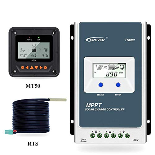 EPEVER Tracer 3210 AN MPPT Solar Laderegler 12V 24V DC Automatische Identifizierung mit LCD-Display Hintergrundbeleuchtung Negativerdung 30A (3210AN+MT50+TS-R)